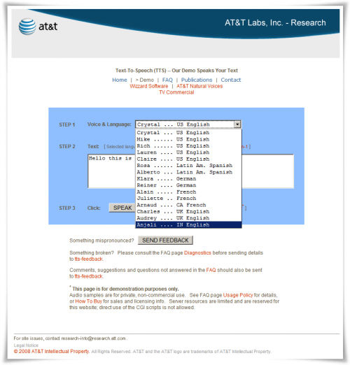 AT&T test-to-speech